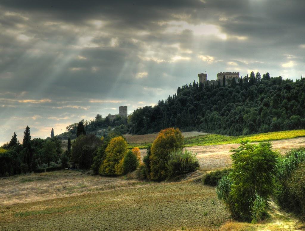 Il castello circondato dal bosco di lecci